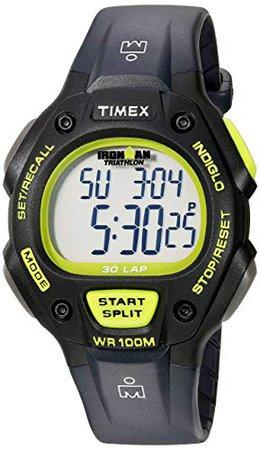 Timex T5E901 Ironman Classic 30 Gray/Black/Lime Resin Strap Watch