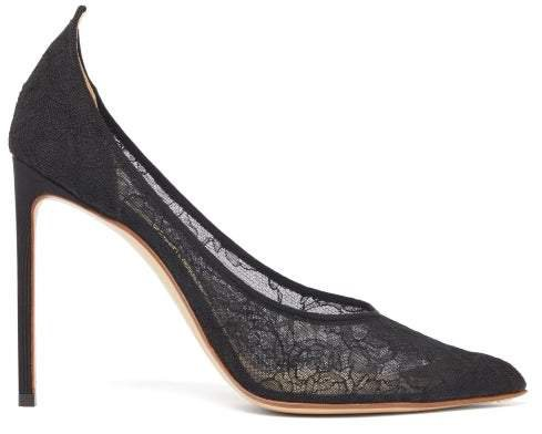 Point-toe Silk-lace Pumps - Womens - Black