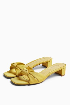 DRAGON Yellow Knot Mules | Topshop