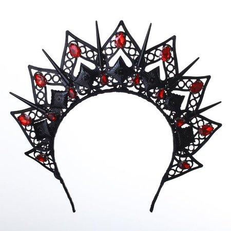 JOLIE Black Crown Customized Gothic Red Headpiece