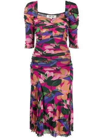 Shop pink DVF Diane von Furstenberg floral-print ruched dress with Express Delivery - Farfetch