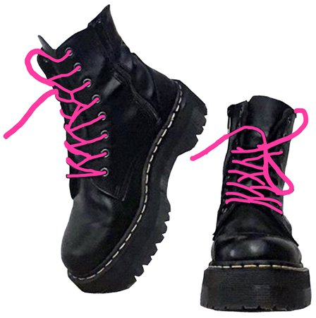 Pink Laced Black Boots