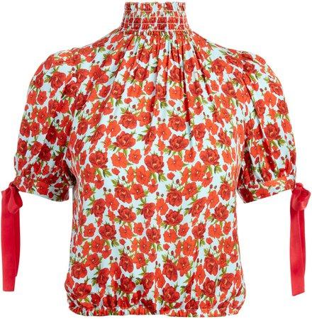 Irene Floral Mock Neck Blouse