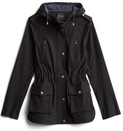 black hooded rain coat