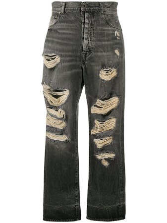UNRAVEL PROJECT Distressed straight-leg Jeans - Farfetch