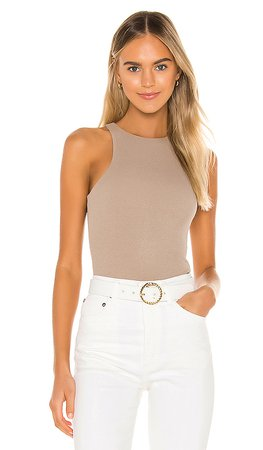 Privacy Please Reading Bodysuit in Taupe | REVOLVE