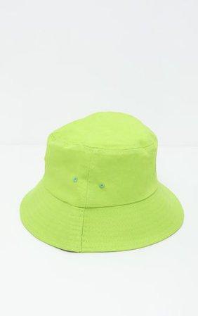 Neon Lime Plain Bucket Hat - Accessories   PrettyLittleThing