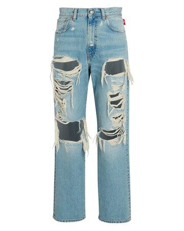 Denimist Boyfriend Distressed Straight-Leg Jeans | INTERMIX®
