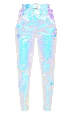 Silver Holographic Belted Cigarette Trouser | PrettyLittleThing
