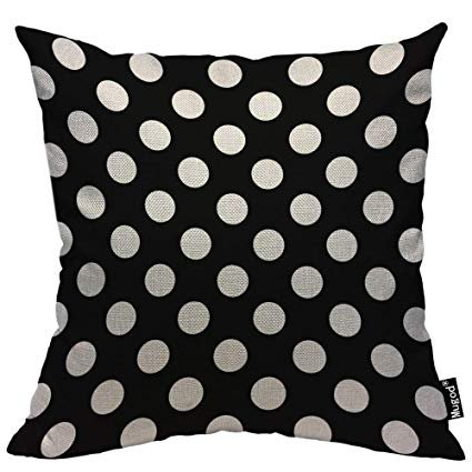 Mugod Polka Dot Throw Pillow Case,Abstract Circle Geometric Pattern Retro Black and White Cotton Linen Cushion Cover for Men Women Sofa Armchair Bedroom Livingroom 18x18 Inch: Gateway