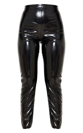 Black Croc Embossed Vinyl Skinny Trousers | PrettyLittleThing