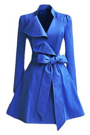 pea coat, royal, flare, blue, trench coat - Wheretoget