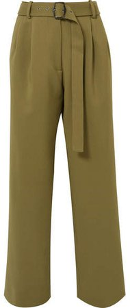 Sies Marjan - Blanche Belted Wool-canvas Pants - Army green