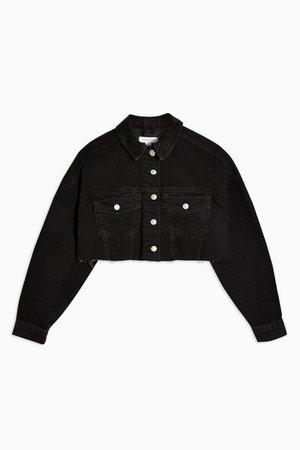 Washed Black Denim Hacked Off Jacket | Topshop