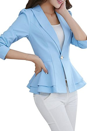 YMING Women's Casual One Button Blazer Office Work Long Sleeve Blazer at Amazon Women's Clothing store