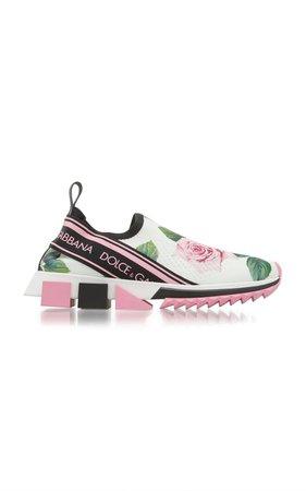 Sorrento Floral-Print Stretch-Knit Slip-On Sneakers by Dolce & Gabbana | Moda Operandi