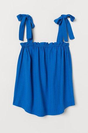 Jacquard-weave Top - Bright blue -   H&M US