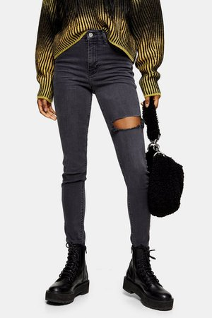 Washed Black Thigh Rip Jamie Skinny Jeans | Topshop