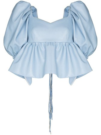 Shop blue ANOUKI open-back puff-sleeve blouse with Express Delivery - Farfetch
