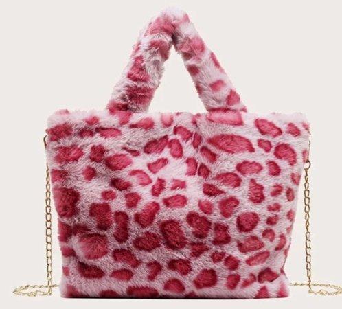 pink cheetah fur bag