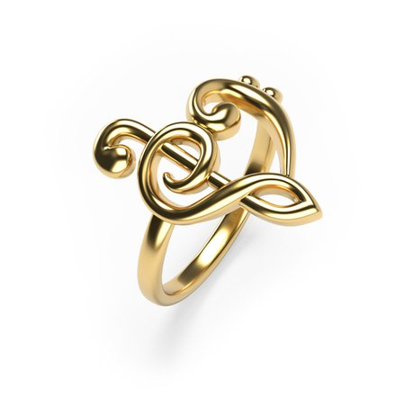 Heart Music Note Ring Gold