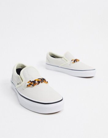 Vans Slip-On Chain sneaker in white | ASOS