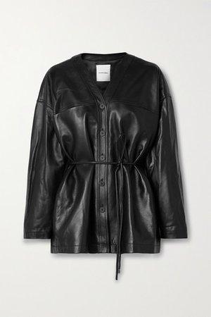 Belted Leather Jacket - Black
