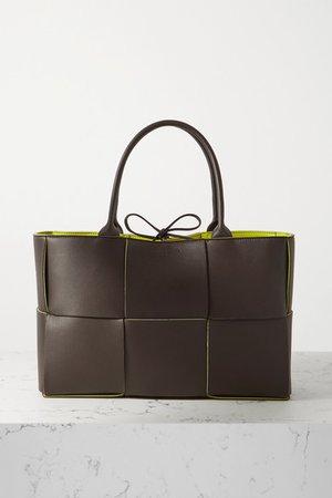 Intrecciato Leather Tote - Dark brown