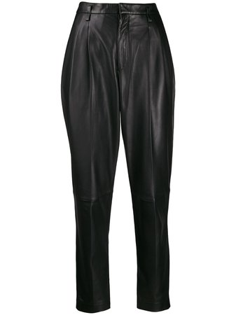 Redvalentino Leather Tapered Trousers TR3NF00C4TJ Black | Farfetch