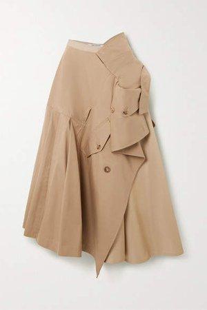 Asymmetric Cotton-blend Twill Midi Skirt - Beige