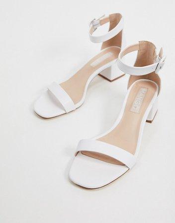 Mango kitten heel sandals in white | ASOS