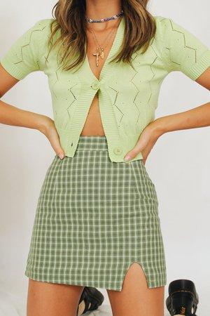 The 1995 Check Mini Skirt // Green – Verge Girl