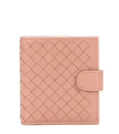 Intrecciato compact leather wallet