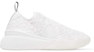 Logo-woven Corded Lace Slip-on Sneakers - White