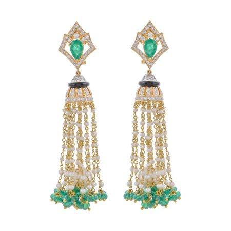 Emerald Diamond Pearl 18 Karat Yellow Gold Tassel Earring
