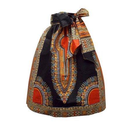 African Print Women Natural Waist Bohemian Skirt with Belt - Walmart.com