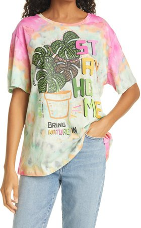 Stay Home Tie Dye Graphic Tee