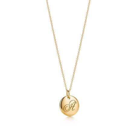Tiffany & Co, Tiffany Notes alphabet disc charm in 18k gold, small