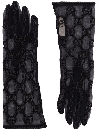 Black Gucci macrame lace gloves - Farfetch
