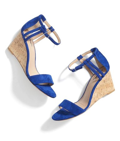 blue wedge sandals