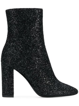 Saint Laurent | glitter high ankle boots in 1249 Black