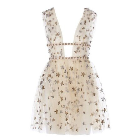 Valentino Star-Embroidered Tulle Mini Dress