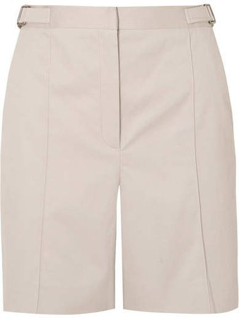 Pleated Cotton-blend Drill Shorts - Light gray