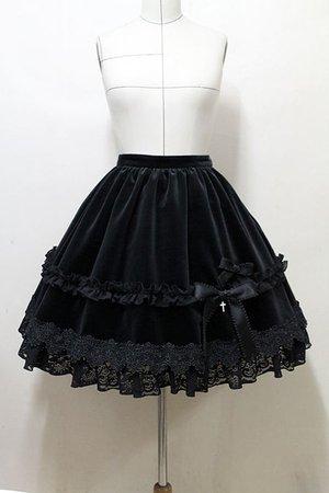 Black Gothic Lolita Mini Skirt W/ Mini Cross Bow