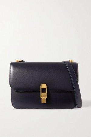 Le Carre Leather Shoulder Bag - Navy