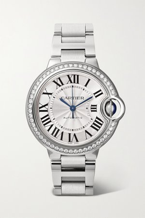 Silver Ballon Bleu de Cartier Automatic 36mm stainless steel and diamond watch | Cartier | NET-A-PORTER