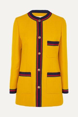 Yellow Grosgrain-trimmed wool and silk-blend blazer | Gucci | NET-A-PORTER