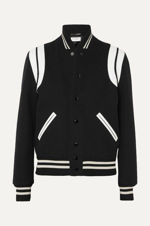 SAINT LAURENT Teddy leather-trimmed wool-blend bomber jacket