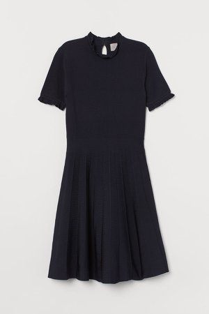 Pleated-skirt Dress - Blue