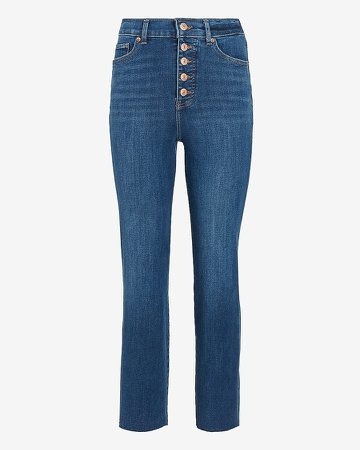 Super High Waisted 4-Way Hyper Stretch Straight Button Fly Jeans